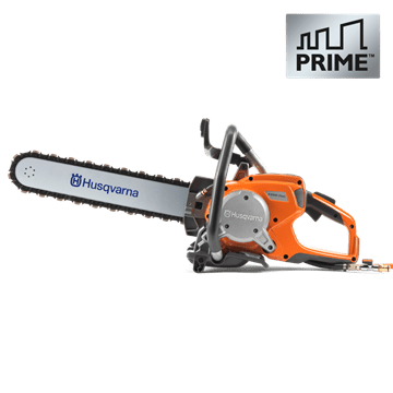 Handheld high-frequency electric cut-off concrete saw Husqvarna power cutter with PRIME technology.