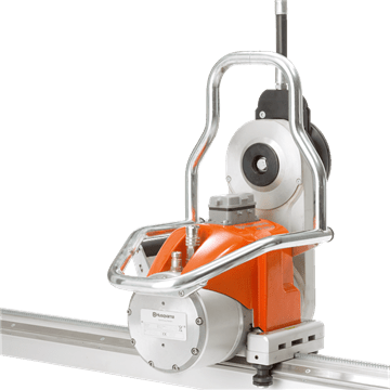 Husqvarna high-frequency electric wall saw units are easy to carry and attach to the track mounted on a concrete wall.
