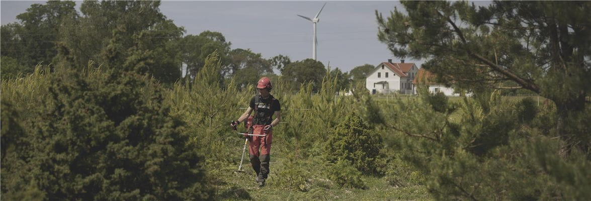 Jonsered man with brushcutter, trimmer