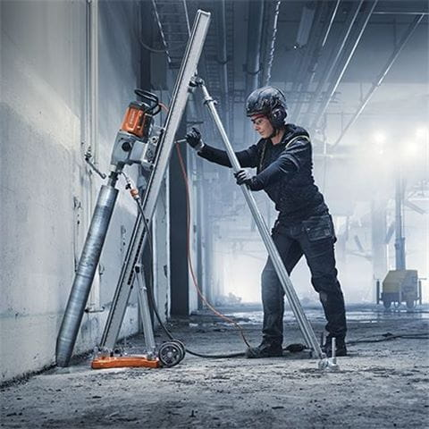 Husqvarna DS 500 drill stand can easily be extended with a special drill column and a back support, letting you work more flexibly.