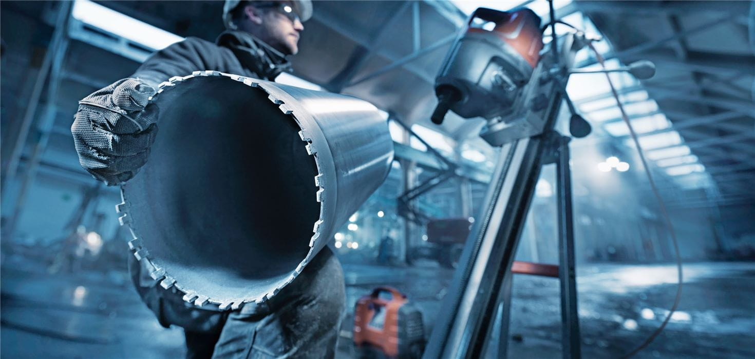 Husqvarna diamond core drill bits with Diagrip technology provide faster, smoother drilling in heavily reinforced concrete