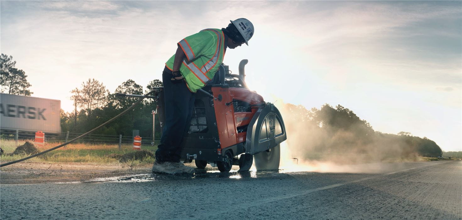 Husqvarna walk-behind floor saws in versions from small gas-powered push concrete saws to large self-propelled diesel road saws