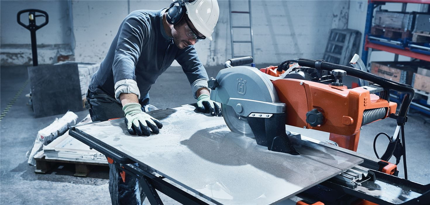 Husqvarna long life diamond blades enable efficient precision wet tile sawing both wet and dry.