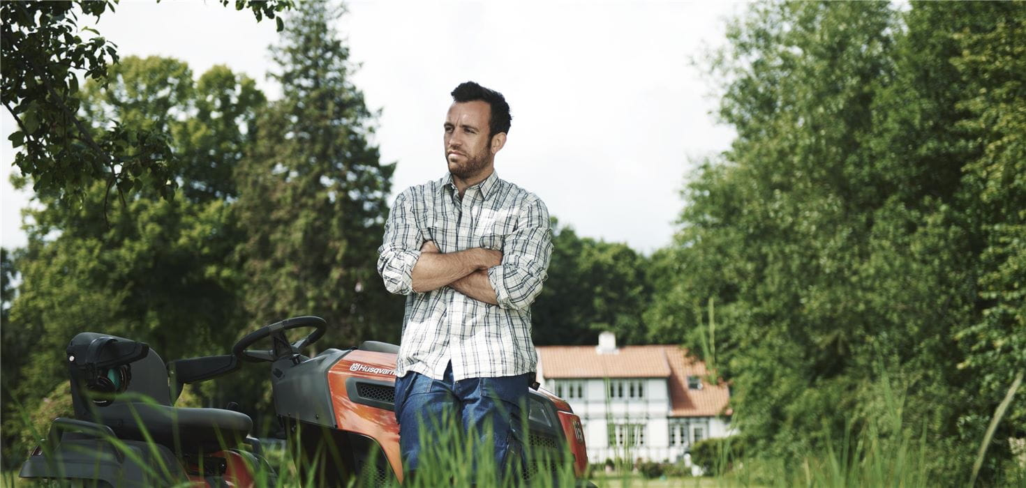 Man and tractor