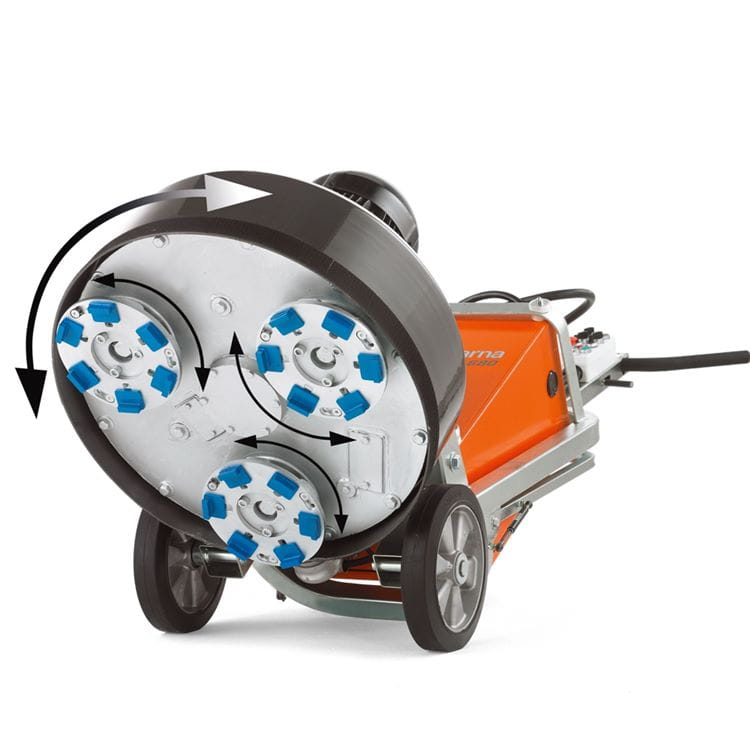 Husqvarna Dual Drive Technology™ enables maximum productivity and control of the concrete floor grinding and polishing process.