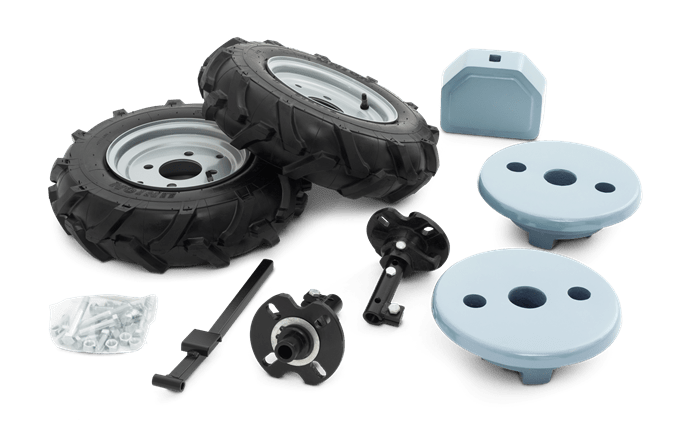 Rubber wheels and weights kit