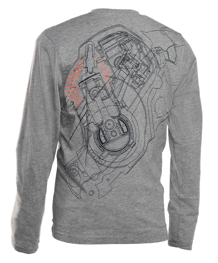 T-shirt long sleeve season, Pioneer saw back