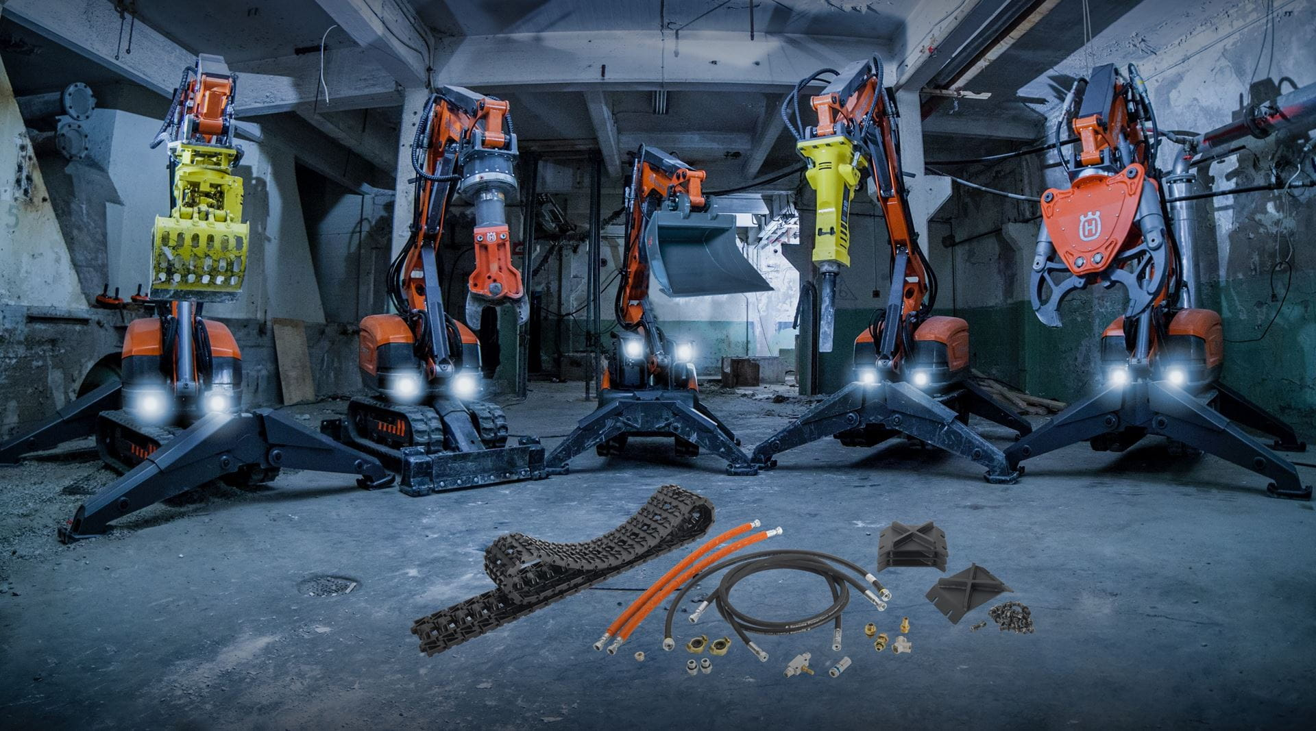 Remote demolition robots from Husqvarna equipped with interchangeable tools for great utility.