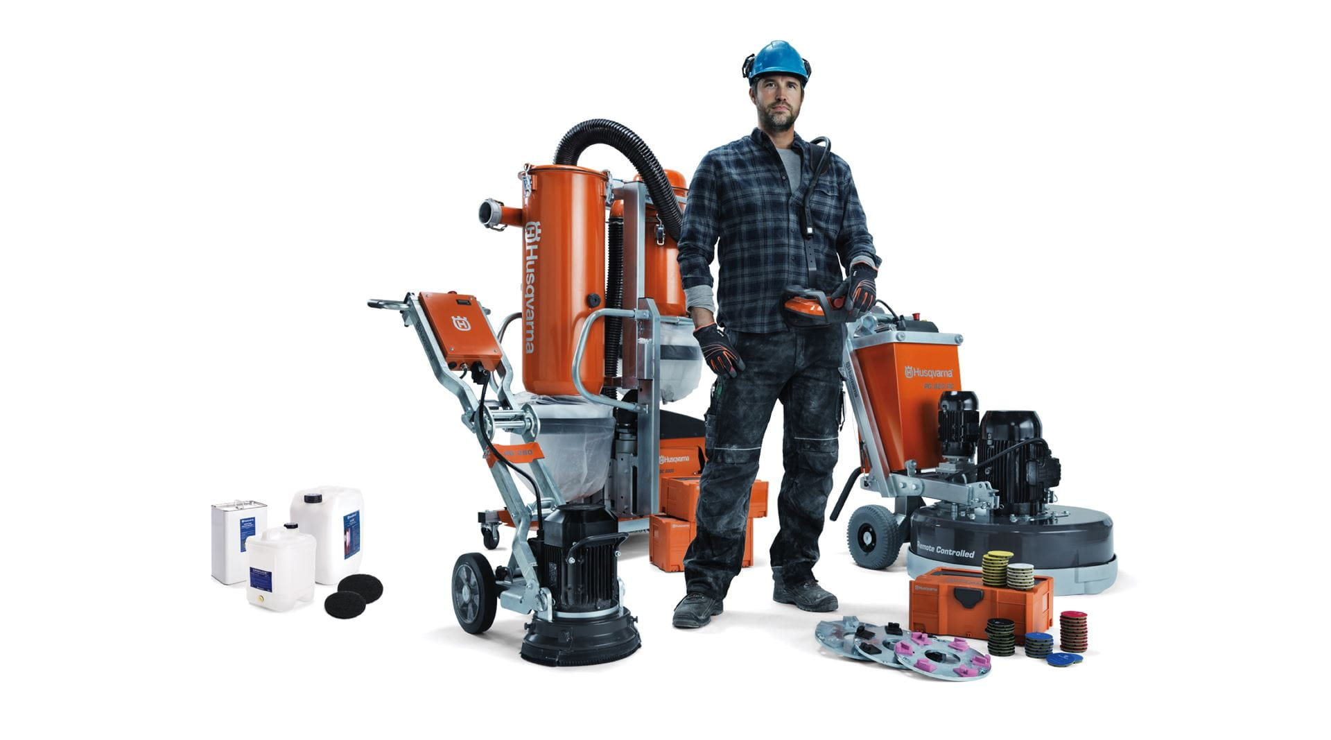 Powerful, efficient and versatile Husqvarna concrete floor grinding system that is easy to transport, set up and use.