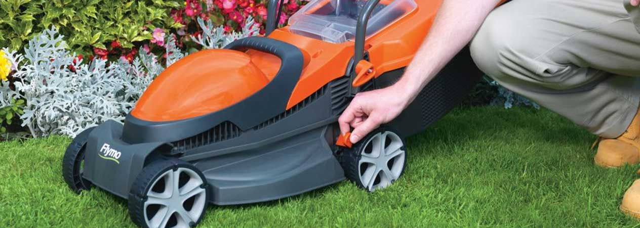 Changing the cutting height on a Flymo lawn mower
