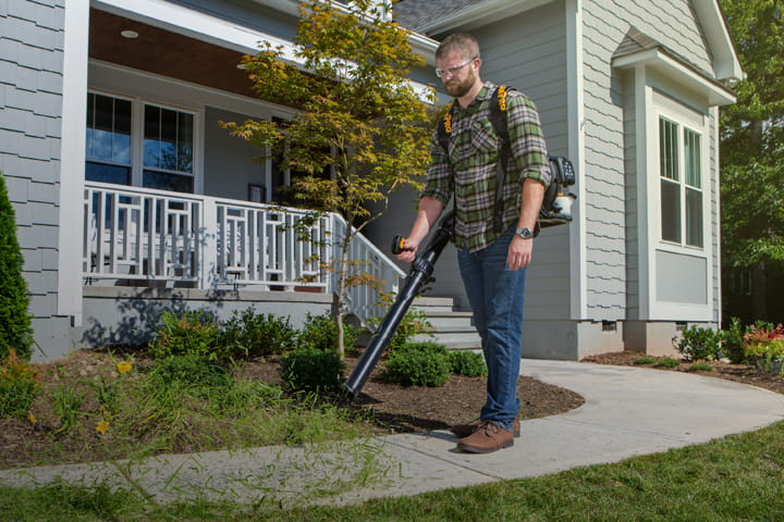 House Backpack Blower Main Plaid Shirt Blowing Grass