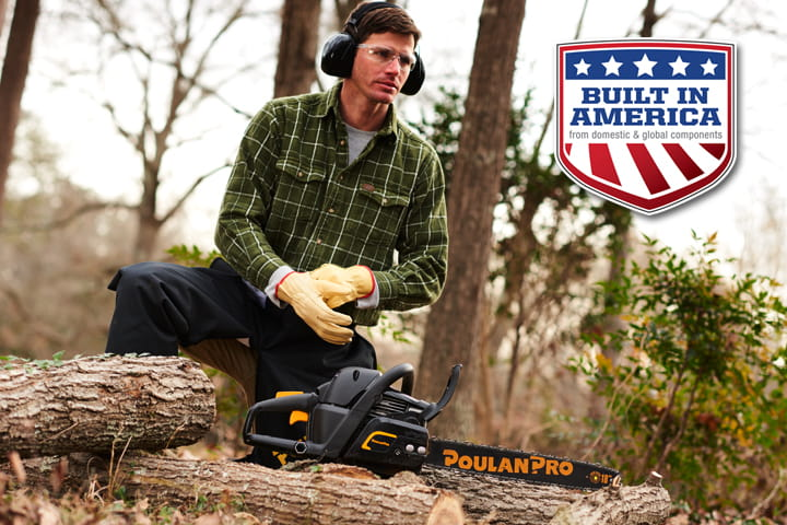 Green Plaid Shirt Man with Chainsaw and BIA shield