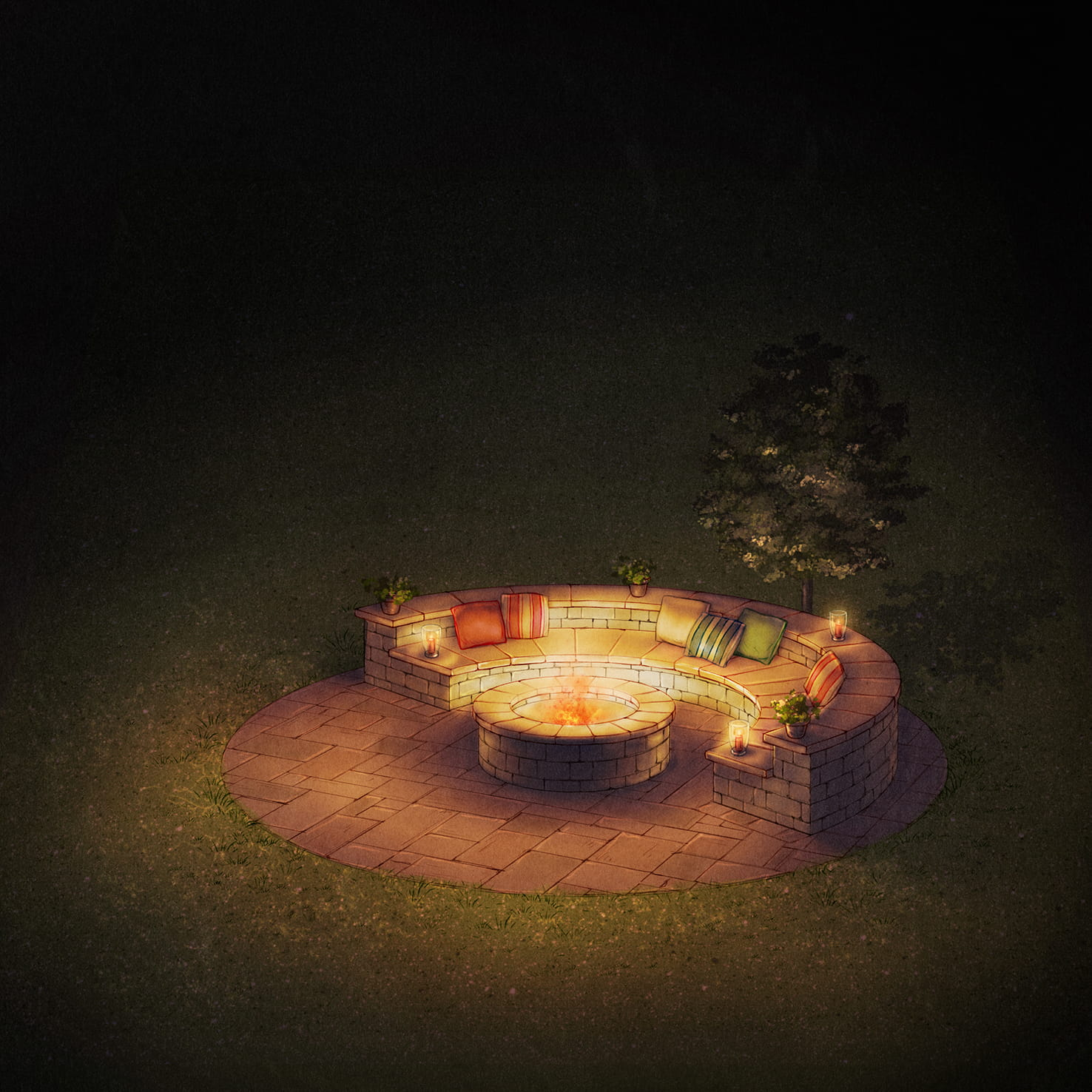 Integrated Seating Fire Pit Design