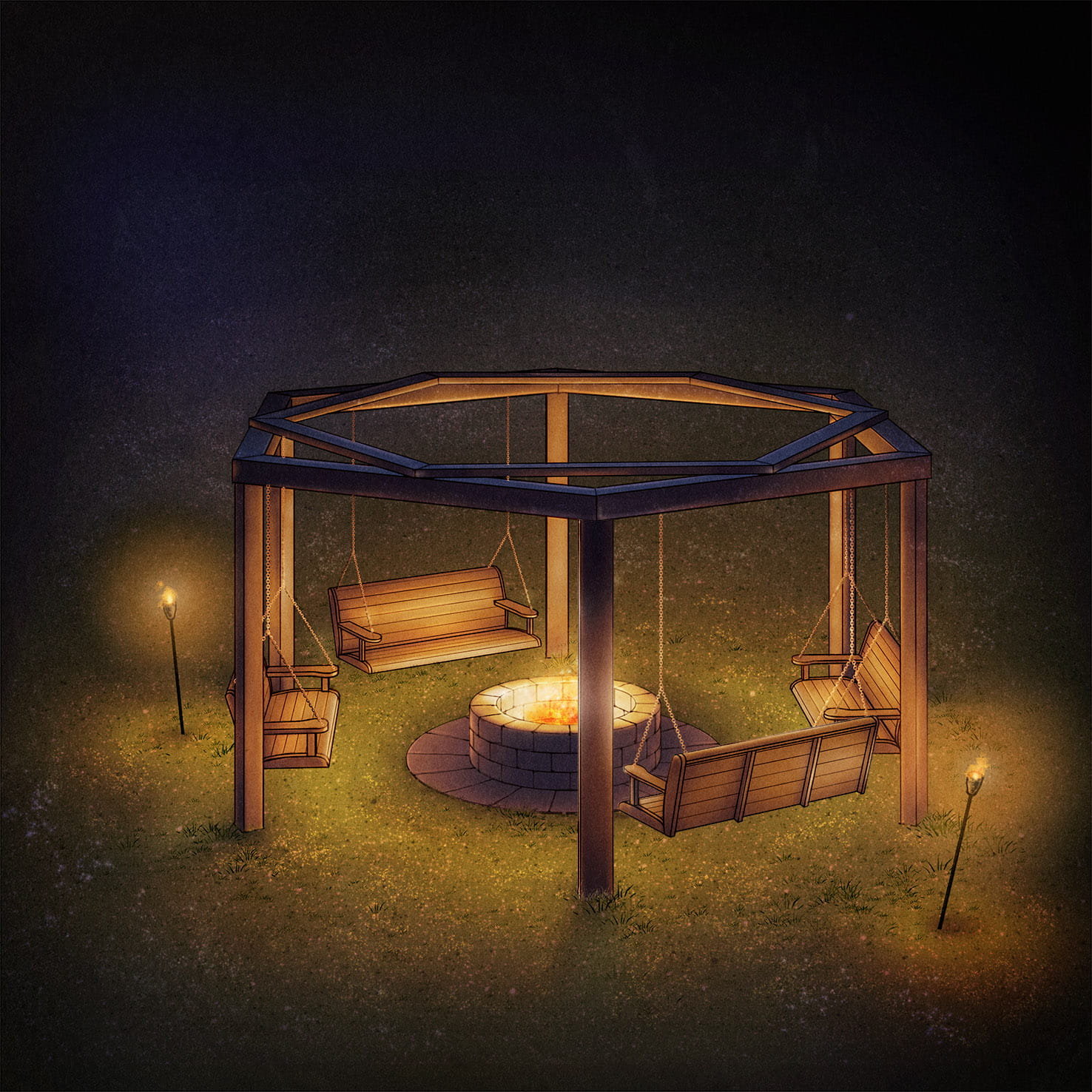 Fire Pit With Swings Design