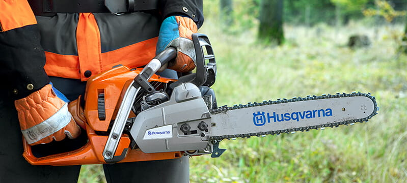 Husqvarna chainsaw with PPE