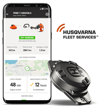 Husqvarna Fleet Services app, sensor and logo